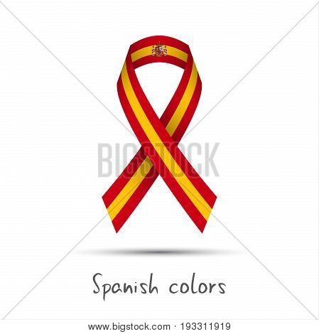 Modern colored vector ribbon with the Spanish colors isolated on white background abstract Spanish flag Made in Spain logo