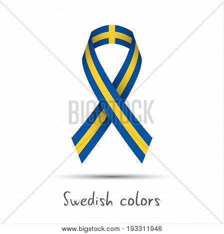 Modern colored vector ribbon with the Swedish colors isolated on white background abstract Swedish flag Made in Sweden logo