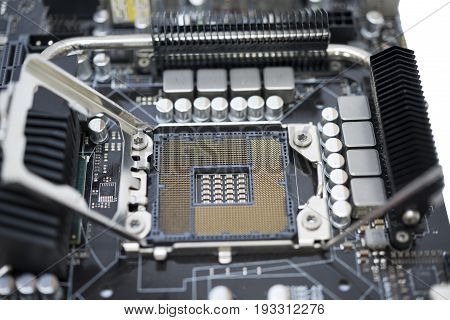 Tecnology Socket Lga 1366 For Cpu On Motherboard Computer With Chip Set