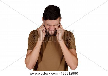 Man Covering His Ears.