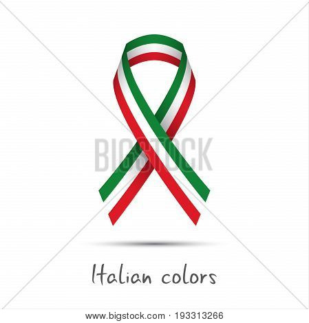 Modern colored vector ribbon with the Italian tricolor isolated on white background abstract Italian flag Made in Italy logo