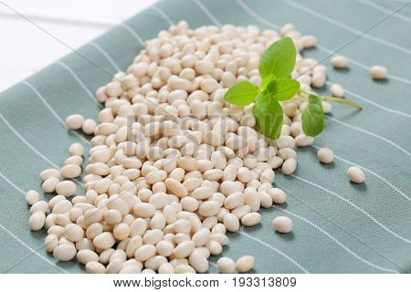pile of raw white beans on grey place mat - close up