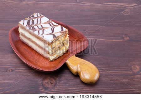 Mille Feuille Napoleon French Custard Pastry On A Cashew Fruit Format Massaranduba Wood Dish On An I