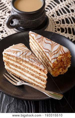 The Cake Of Esterhazy And Coffee Close-up On The Table. Vertical