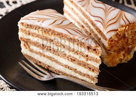 Beautiful Hungarian Esterhazy Cake On A Plate Macro. Horizontal