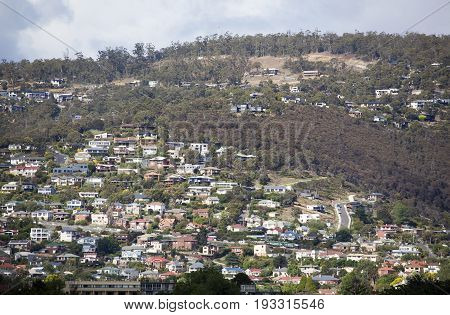 The hill full of residential houses in the city of Hobart (Tasmania).