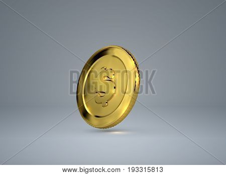 Money. 3d golden coin with dollar sign. Vector illustration payment sign. Financial or business concept.