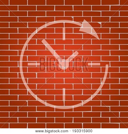 Service and support for customers around the clock and 24 hours. Vector. Whitish icon on brick wall as background.