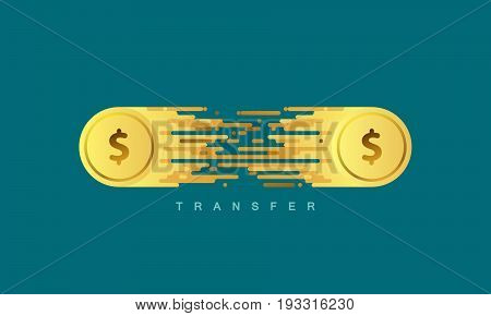 Money transfer. Golden coins with dollar sign. Vector flat illustration. Financial or banking concept.