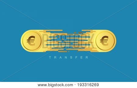 Money transfer. Golden coins with euro sign. Vector flat illustration. Financial or banking concept.