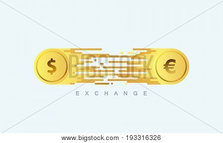 Money exchange. Golden coins with euro and dollar signs and digital stream. Vector flat illustration. Financial or banking concept. Money exchange concept