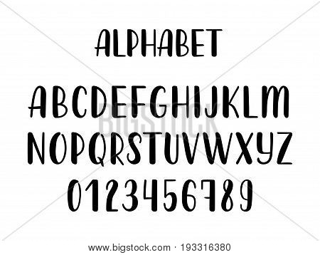 Hand drawn latin calligraphy brush alphabet of capital letters. Vector illustration