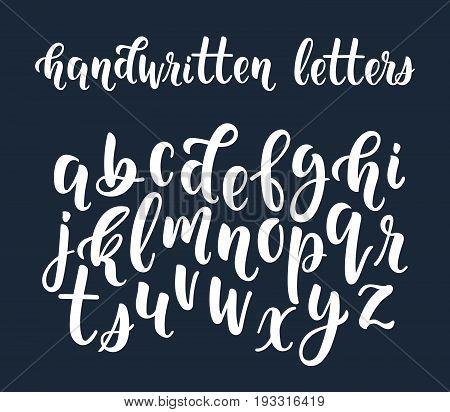 White handwritten latin calligraphy brush script of lowercase letters. Calligraphic alphabet. Vector illustration