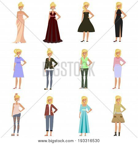 Set of Women in fashion clothes and shoes. Dress code for woman isolated on white background. Vector illustration eps 10