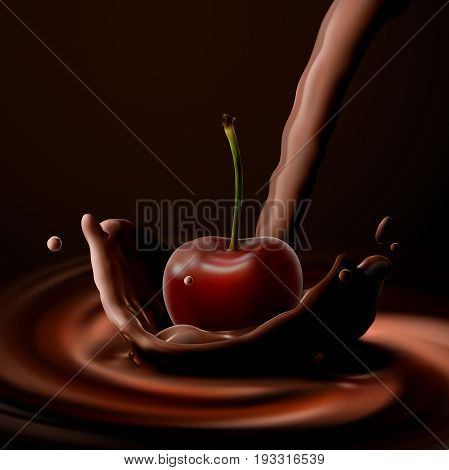 Cherry falling in chocolate. Vector food illustration. Cherry with chocolate crown splash. Confectionery product ad poster.