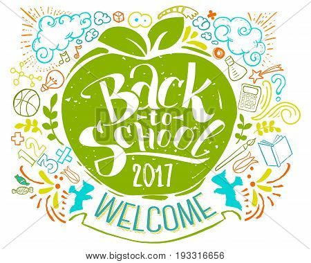 Back to school poster with doodles. Colorfull lettering for education background. Sketches and han written text. Childrens styled drawing. Vector illustartion.