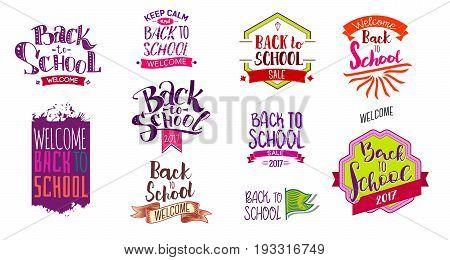 Big set of Welcome back to school labels. School Background. Back to school sale tag. Vector illustration. Hand drawn lettering badges. Typography emblem set.