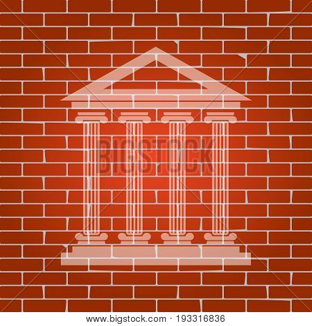 Historical building illustration. Vector. Whitish icon on brick wall as background.
