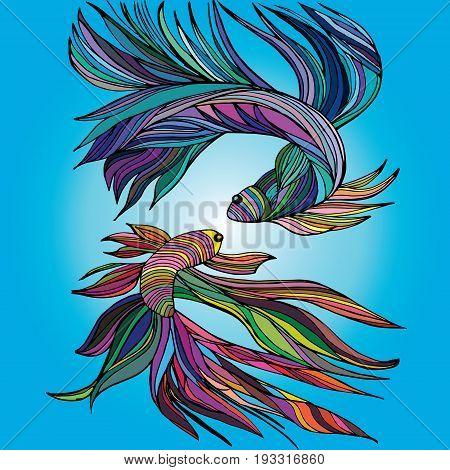 Two small fishes yin-yang hand-drawn vector illustration