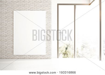 Front view of empty poster in brick interior with city view and sunlight. Mock up 3D Rendering