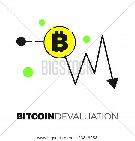 Going down graph with ditcoin sign. Descending cryptocurrency exhange rate. Flat design isolated on white background. Negative trend for virtual currency illustration concept.