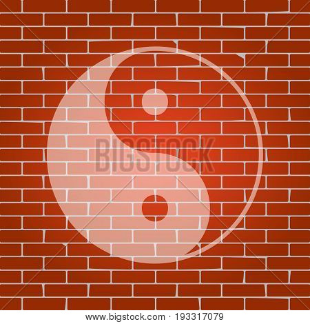 Ying yang symbol of harmony and balance. Vector. Whitish icon on brick wall as background.
