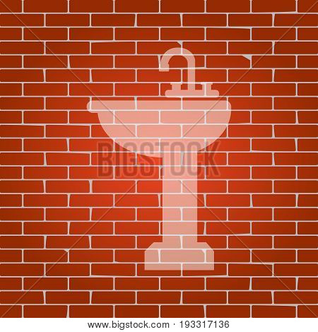 Bathroom sink sign. Vector. Whitish icon on brick wall as background.