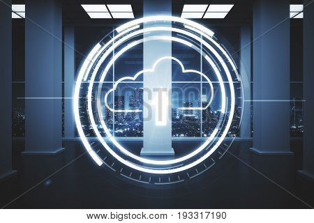 Abstract loading cloud in office interior with night city view. Upload concept. 3D Rendering