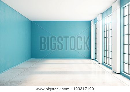 Front view of unfurnished spacious blue interior with windows city view and sunlight. Mock up 3D Rendering