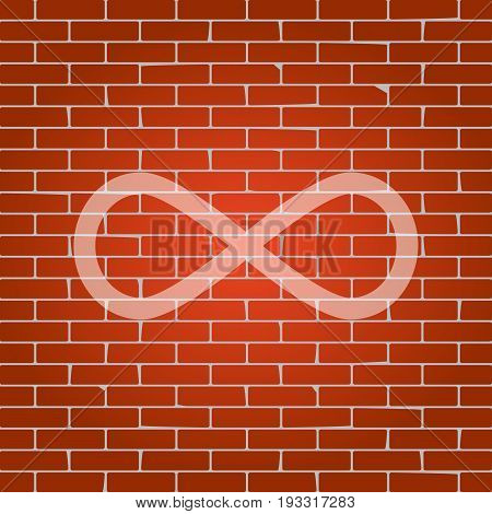 Limitless symbol illustration. Vector. Whitish icon on brick wall as background.