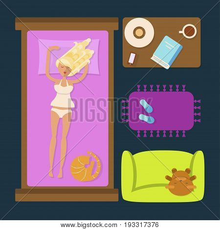 Sleeping woman in Bedroom with furniture overhead. Top view Apartment plan Isolated. Flat style vector illustration for infographic