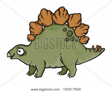 Cartoon drawing of a Stegosaurus dinosaur. Vector illustration.