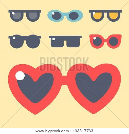 Fashion set sunglasses design retro accessory sun optical view object and spectacles vintage plastic frame modern eyeglasses vector illustration. Summer sight shape classic reflection