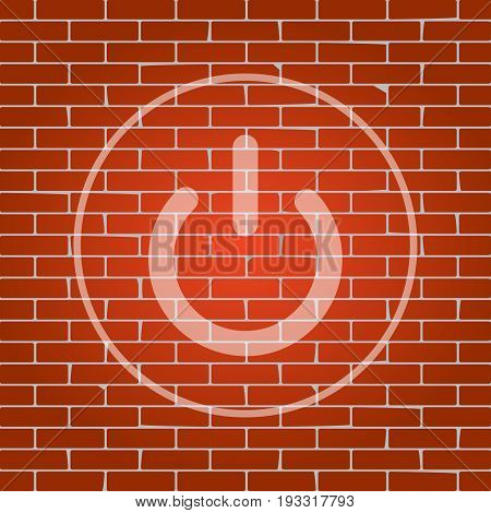 On Off switch sign. Vector. Whitish icon on brick wall as background.