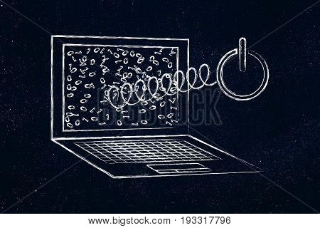 Reboot Symbol Coming Out Of Laptop Screen On A Spring