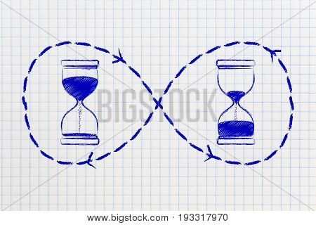 Hourglass Before And After Time Passing