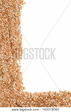 Raw unprocessed linseed or flax seed background corner border