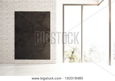 Front view of empty chalkboard in brick interior with city view and sunlight. Mock up 3D Rendering