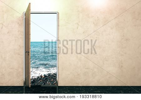 Open door with seaside view in concrete interior with empty wall. Sucess concept. Mock up 3D Rendering