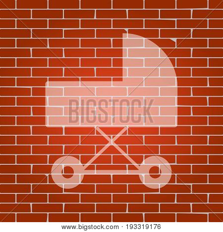 Pram sign illustration. Vector. Whitish icon on brick wall as background.