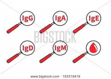 Logo analysis immunoglobulin. Icon blood lab. Allergy test. Vector illustration.