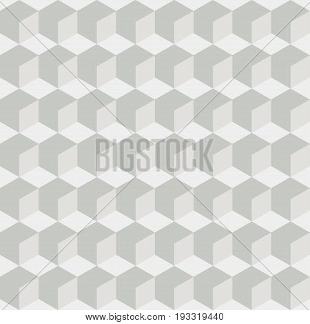 Abstract white seamless geometric retro pattern. Background with 3D cubes. Vector illustration