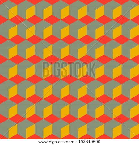 Abstract seamless geometric retro pattern. Vintage background with 3D cubes. Vector illustration