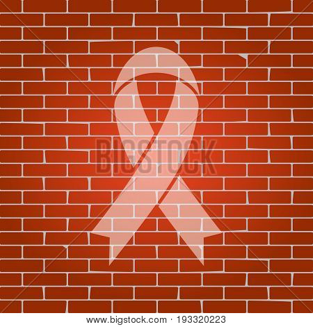 Black awareness ribbon sign. Vector. Whitish icon on brick wall as background.