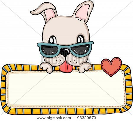 Scalable vectorial image representing a cute dog with sunglasses and love blank sign, isolated on white.