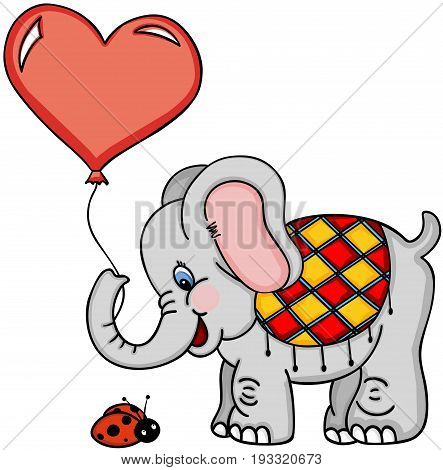 Scalable vectorial image representing a cute elephant with balloon and ladybug, isolated on white.