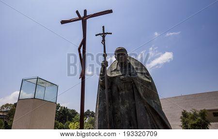 Statue Of John Paul 2 In Sanctuary Of Fatima, Portugal