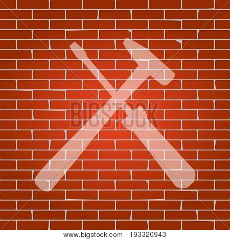 Tools sign illustration. Vector. Whitish icon on brick wall as background.