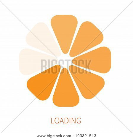 Orange round progress bars. Vector abstract symbol for webpage design. Loading bars and spinner with text - Loading. Round progress bar for interface web elements.