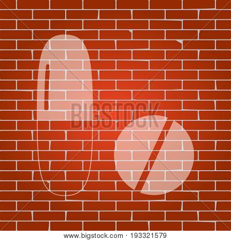 Medical pills sign. Vector. Whitish icon on brick wall as background.